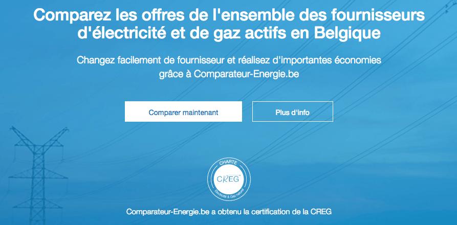 Aperçu de la home page du site internet Comparateur-Energie.be