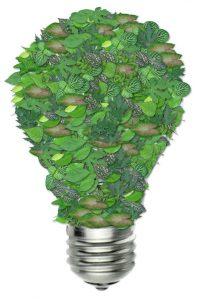 Lamp gevormd aan de hand van groene bladeren