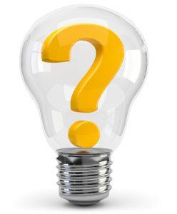 Ampoule contenant un point d'interrogation