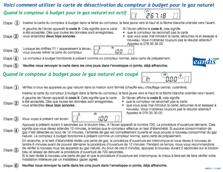 Mode d'emploi de la carte de désactivation du compteur à budget gaz naturel