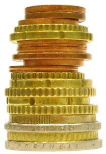 Pièces d'euros entassées