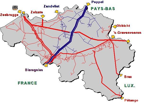 Carte du réseau de gaz en Belgique