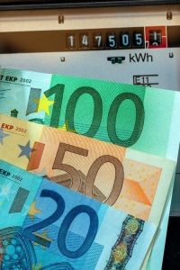 Index of an energy meter with euro banknotes