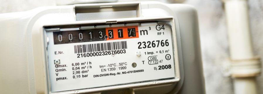 Gasmeter met het verbruik in kubieke meter (m3)
