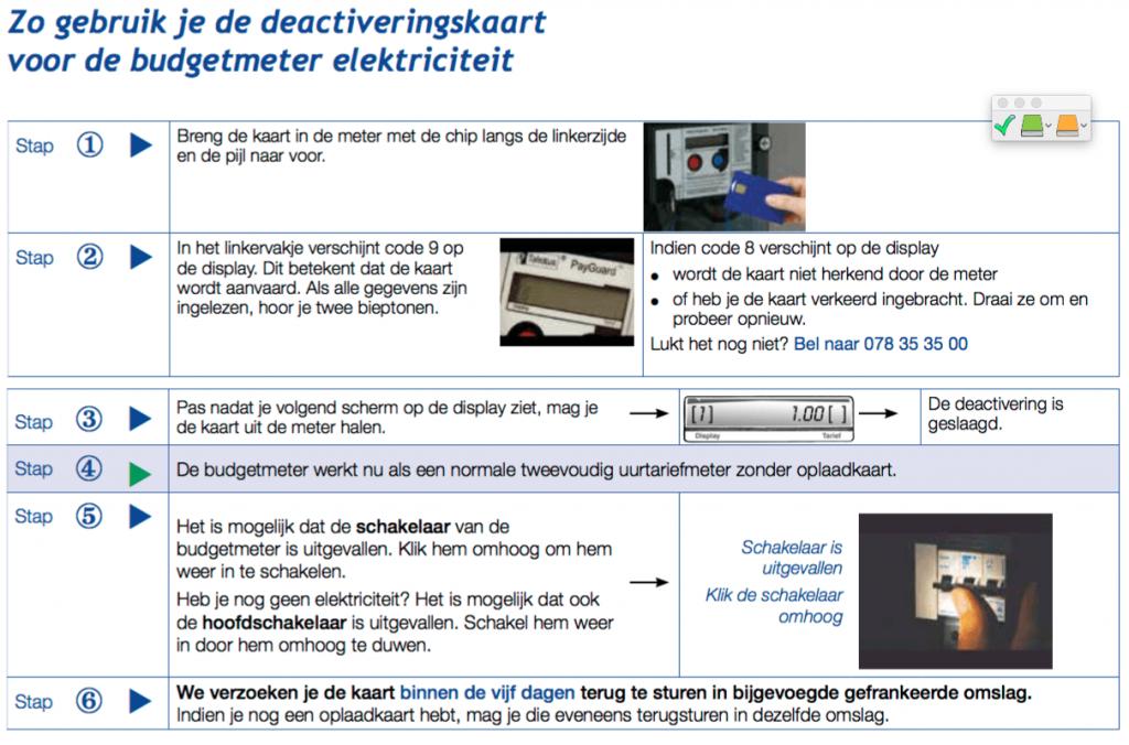 Gebruik van de deactiveringskaart voor elektriciteit
