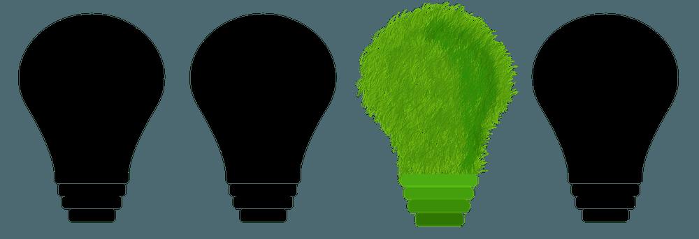 Vier lampen waarvan drie zwarte en één groene.