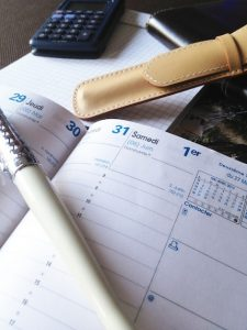 Open diary to note down the date of your appointment