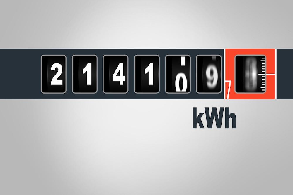 Nombre de kilowattheures (kWh) indiqués par le compteur électrique