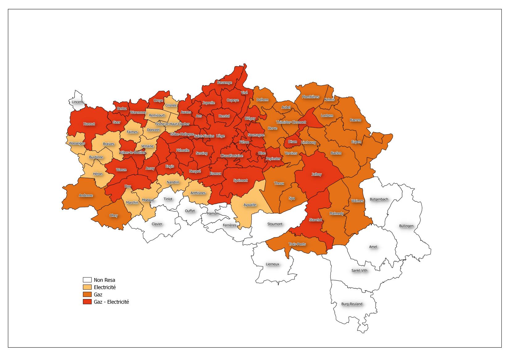 Quelles sont les communes wallonnes affiliées au GRD RESA ?