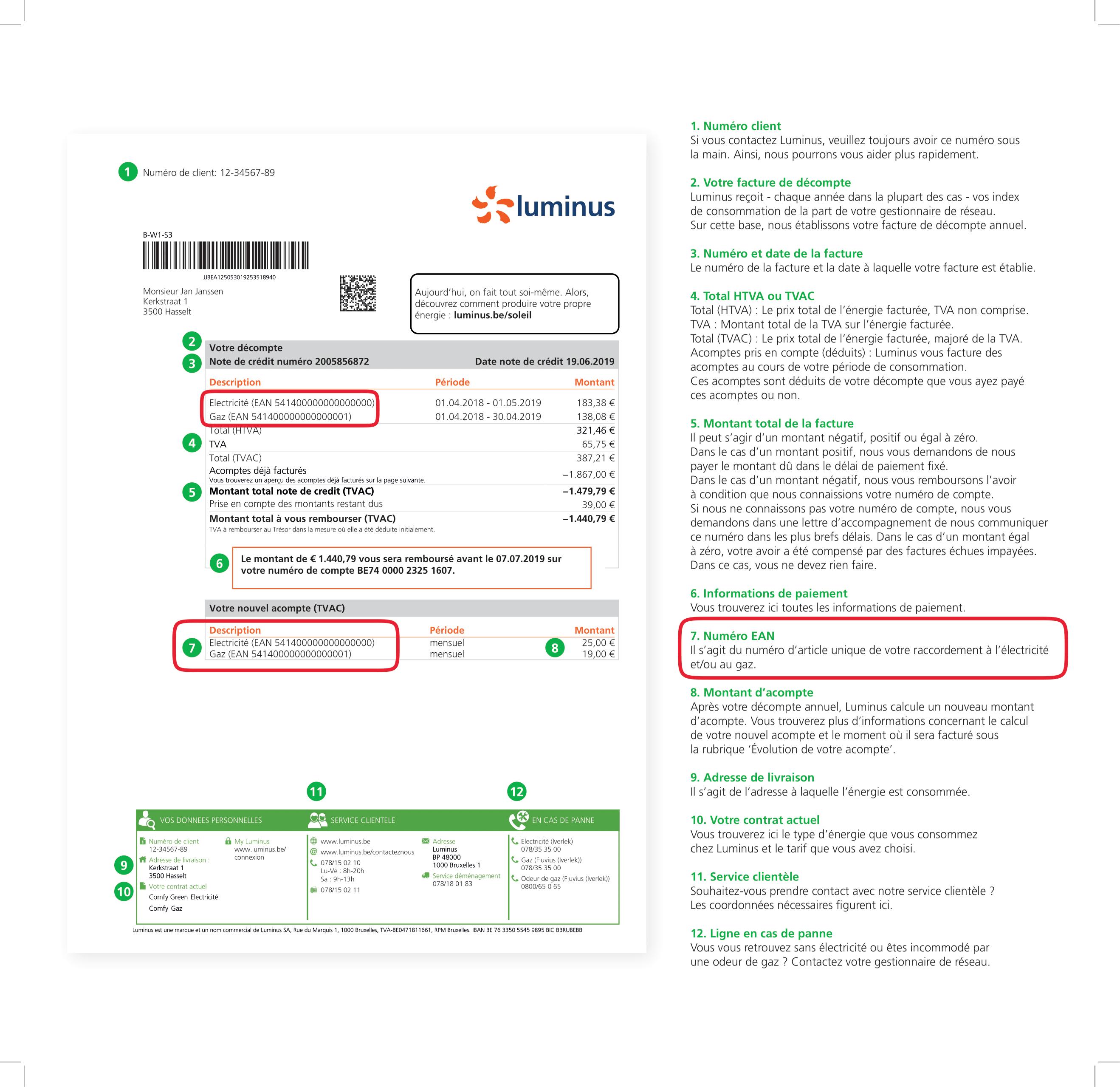 facture type Luminus - emplacement du code EAN
